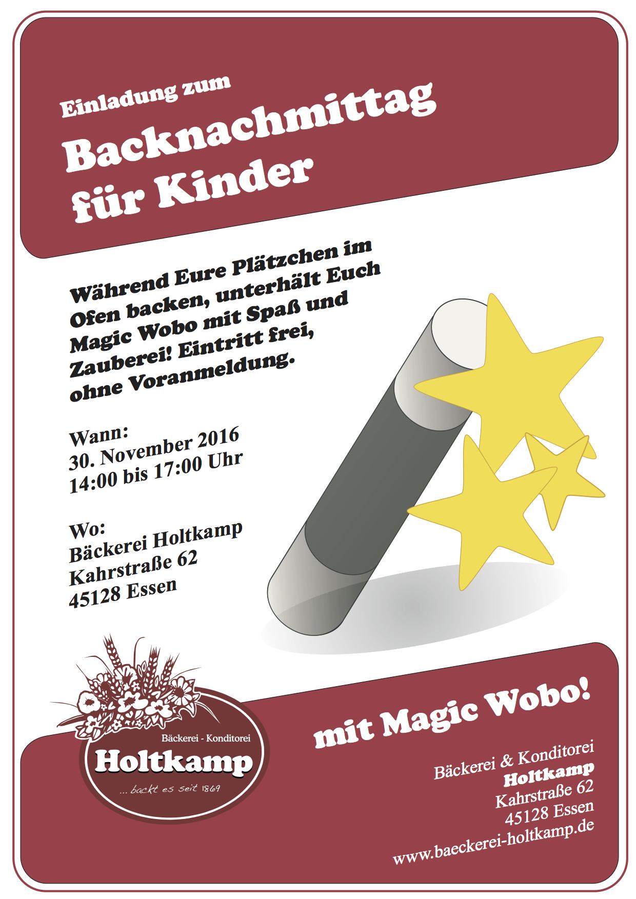 Backnachmittag Für Kinder 2016, Bäckerei Holtkamp, Essen, Kahrstraße, Konditorei Holtkamp