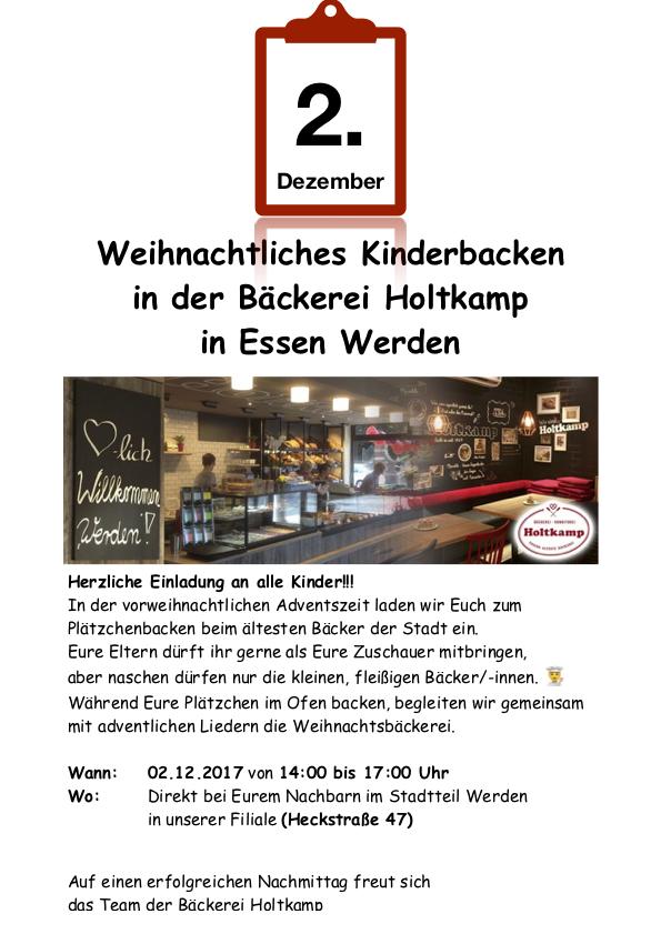 Einladung Backnachmittag Essen-Werden 2017 Essens älteste Bäckerei, Konditorei, Veranstaltungen