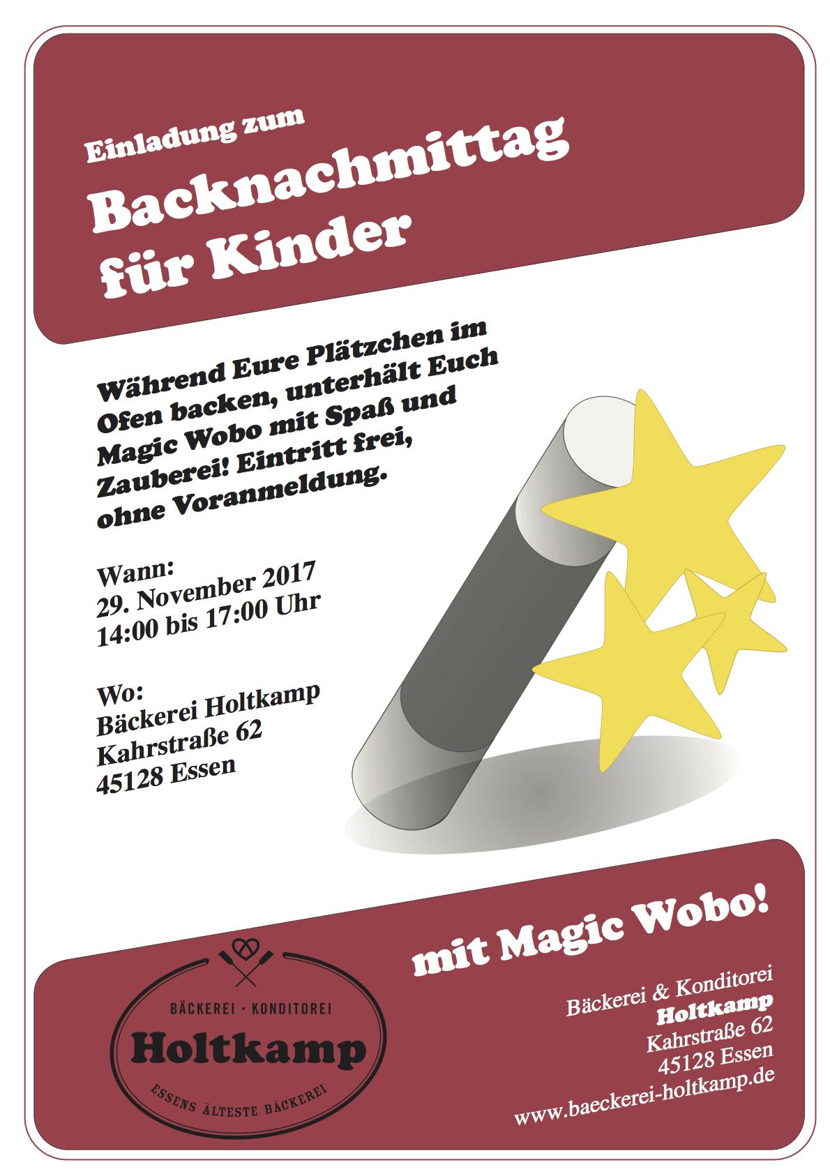 Backnachmittag Für Kinder 2017, Bäckerei Holtkamp, Essen, Kahrstraße, Konditorei Holtkamp